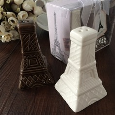 Eiffel Tower Design Ceramic Salt & Pepper Shakers With Ribbons/Tag (Set of 2 pieces)