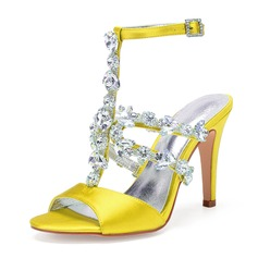Women's Silk Like Satin Stiletto Heel Peep Toe Pumps Sandals With Rhinestone (047206715)