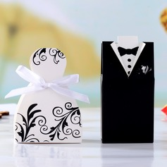 Tuxedo & Gown Cuboid Favor Boxes With Ribbons (Set of 12)