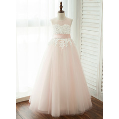 A-Line/Princess Floor-length Flower Girl Dress - Tulle/Lace Sleeveless Scoop Neck With Appliques (010122557)