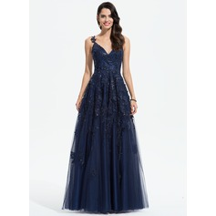 A-Line V-neck Floor-Length Tulle Evening Dress With Lace Sequins (017196076)