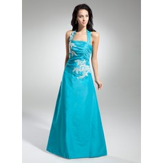 A-Line/Princess Halter Floor-Length Taffeta Prom Dress With Ruffle Appliques Lace