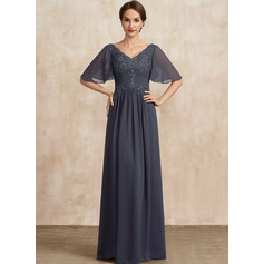 A-Line V-neck Floor-Length Lace Chiffon Mother of the Bride Dress With Ruffle Beading