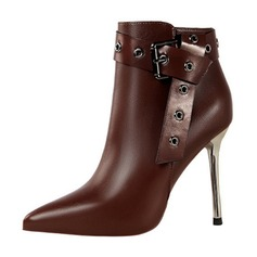 Women's Leatherette Stiletto Heel Closed Toe Boots Ankle Boots With Buckle shoes