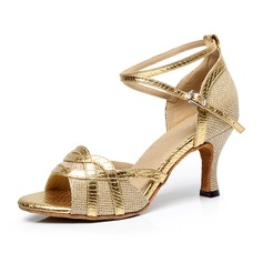 Women's Leatherette Heels Sandals Pumps Latin With Ankle Strap Dance Shoes