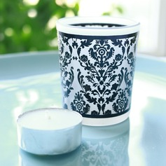 """Damask Traditions"" Frosted Glass Tea Light Holder"