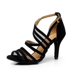 Women's Suede Heels Sandals Pumps Latin Dance Shoes