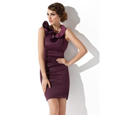 Sheath/Column Scoop Neck Short/Mini Charmeuse Mother of the Bride Dress With Cascading Ruffles
