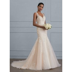 Trumpet/Mermaid V-neck Court Train Tulle Wedding Dress With Beading Sequins