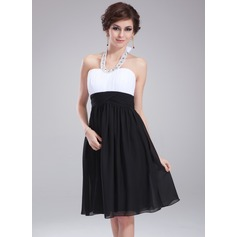 Empire Halter Knee-Length Chiffon Homecoming Dress With Ruffle Beading Bow(s)