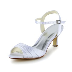 Women's Satin Low Heel Peep Toe Sandals With Ruched (047039422)