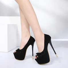 Women's Suede Stiletto Heel Pumps Platform Peep Toe With Bowknot Hollow-out shoes
