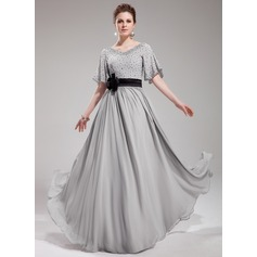 A-Line/Princess V-neck Floor-Length Chiffon Evening Dress With Sash Beading Flower(s) Sequins (017019724)