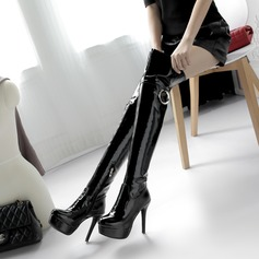 Women's Patent Leather Stiletto Heel Pumps Platform Boots Knee High Boots With Zipper Others shoes (088137518)