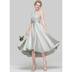 A-Line/Princess Scoop Neck Asymmetrical Satin Bridesmaid Dress With Sequins (007090173)