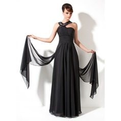 A-Line V-neck Sweep Train Chiffon Holiday Dress With Ruffle