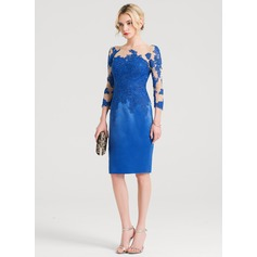 Sheath/Column Scoop Neck Knee-Length Satin Cocktail Dress (016150452)