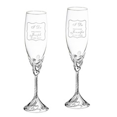 Personalized Heart with Heart Design Glass/Aluminum Toasting Flutes (Set of 2)