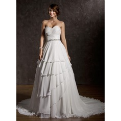 Ball-Gown Sweetheart Court Train Chiffon Wedding Dress With Ruffle Beading Sequins