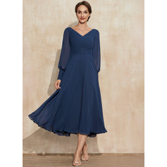 A-Line V-neck Tea-Length Chiffon Mother of the Bride Dress With Ruffle (008235590)