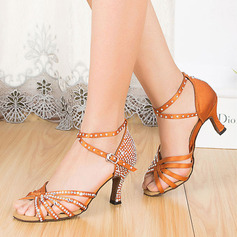 Women's Satin Latin With Rhinestone Buckle Dance Shoes