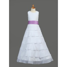 A-Line/Princess Floor-length Flower Girl Dress - Chiffon/Charmeuse Sleeveless Scoop Neck With Ruffles/Sash/Flower(s)