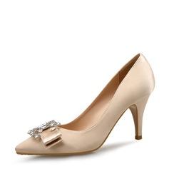 Frauen Satin Stöckel Absatz Absatzschuhe Geschlossene Zehe mit Bowknot Schnalle Schuhe