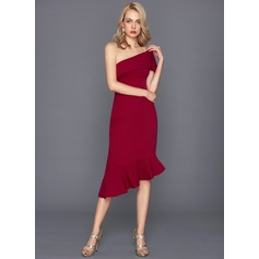 Jakke One-Shoulder Asymmetrisk Satin Cocktailkjole med Kaskadeflæser
