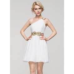 A-Line/Princess One-Shoulder Short/Mini Chiffon Cocktail Dress With Ruffle Beading Sequins