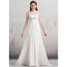 Empire Illusion Sweep Train Chiffon Wedding Dress With Ruffle Beading Sequins