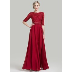 A-Line/Princess Scoop Neck Floor-Length Chiffon Mother of the Bride Dress With Beading Sequins (008085282)