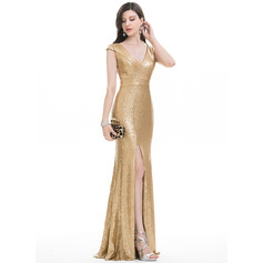 Trumpet/Mermaid V-neck Floor-Length Sequined Prom Dress With Split Front