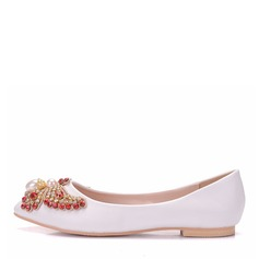 Women's Leatherette Flat Heel Closed Toe Flats With Crystal Pearl