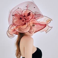 Ladies ' Hotteste/Romantisk Organzastof/Blonder med Blomst Strand / Sun Hatte/Kentucky Derby Hatte/Tea Party Hats