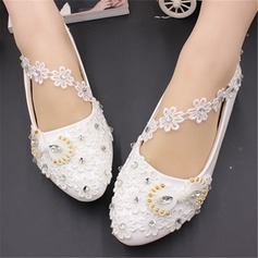 Women's Leatherette Flat Heel Closed Toe With Stitching Lace Pearl