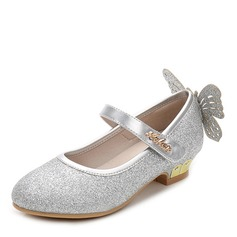 Girl's Round Toe Closed Toe Sparkling Glitter Flat Heel Sandals Flats Flower Girl Shoes With Velcro