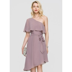 A-Line One-Shoulder Asymmetrical Chiffon Cocktail Dress