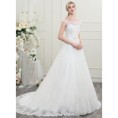 Ball-Gown Off-the-Shoulder Court Train Tulle Lace Wedding Dress With Bow(s) (002095821)
