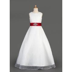 A-Line/Princess Floor-length Flower Girl Dress - Organza/Satin Sleeveless Scoop Neck With Ruffles/Sash/Beading/Bow(s)