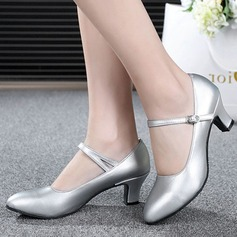 Women's Real Leather Heels Pumps Ballroom Swing With Buckle Dance Shoes (053111433)