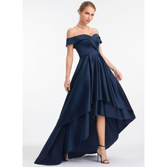 A-Line Off-the-Shoulder Asymmetrical Satin Evening Dress (017198673)