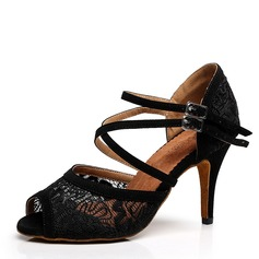 Women's Satin Lace Heels Latin Dance Shoes