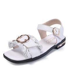 Girl's Peep Toe Leatherette Flat Heel Sandals Flats With Velcro