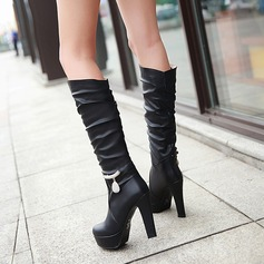 Women's Leatherette Stiletto Heel Pumps Platform Boots Knee High Boots With Rhinestone Chain shoes (088125603)