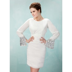 Sheath/Column Scoop Neck Short/Mini Chiffon Homecoming Dress With Ruffle Beading