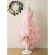 Ball-Gown/Princess Asymmetrical Flower Girl Dress - Tulle Sleeveless V-neck With Flower(s)/Bow(s)/Pleated (010206273)