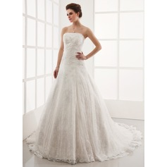 A-Line/Princess Strapless Cathedral Train Lace Wedding Dress With Beading
