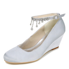 Women's Satin Wedge Heel Closed Toe Pumps Wedges With Buckle Rhinestone (047095132)