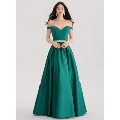 Ballkjole/Princess Off-the-Shoulder Gulvlengde Satin Ballkjole med Profilering