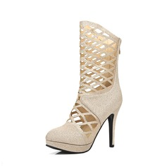 Women's Leatherette Stiletto Heel Sandals Pumps Closed Toe Mid-Calf Boots With Zipper Hollow-out shoes (088124760)